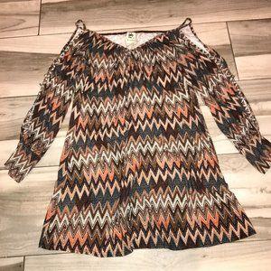 Print Cold Shoulder Mini Dress/ Top